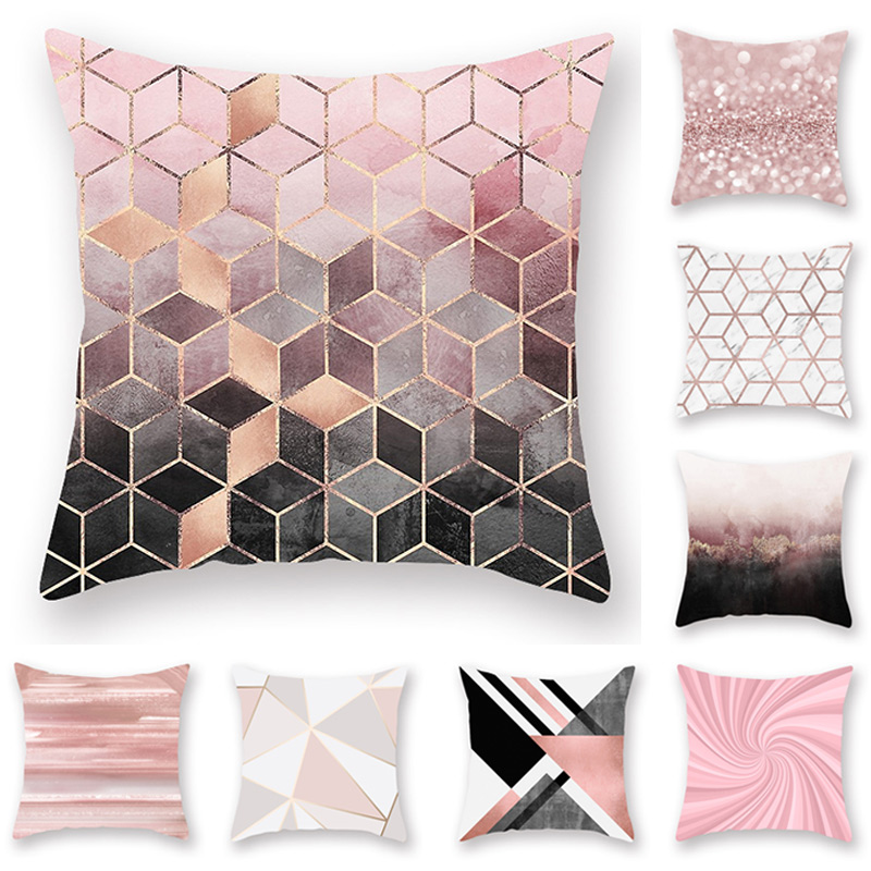 45*45 Cm Pillow Cover Pillowcases Home Sofa Car Nordic Style Peach Skin Velvet Cushion Covers Decor Rose Gold Powder Pink