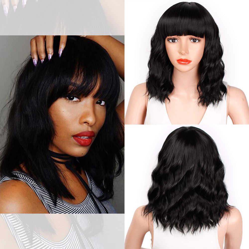 Opieczętowane chwalebne 14 cali naturalne fale peruka Bob czerwona peruka z grzywką syntetyczne krótkie peruki dla kobiet włókno termoodporne włosy