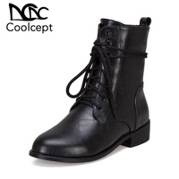 Coolcept Plus Size 33 48 Woman Ankle Boots Solid Color Lace Up Round Toe Shoes Autumn Winter Daily Leisure Women Footwear