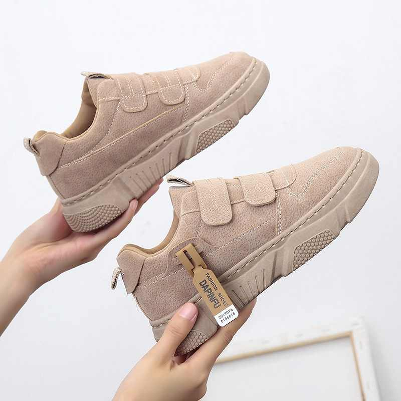 2019 Autumn New Style Retro Suede Leather Shoes Women's Versatile Casual Sports Shoes Hong Kong Style Street Snap Students Runni