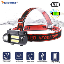 4000 lumens Head Torch COB +Spot Light 4 Lighting Mode Rechargeable Headlight Waterproof Powered By 18650 Battery Suit for camp
