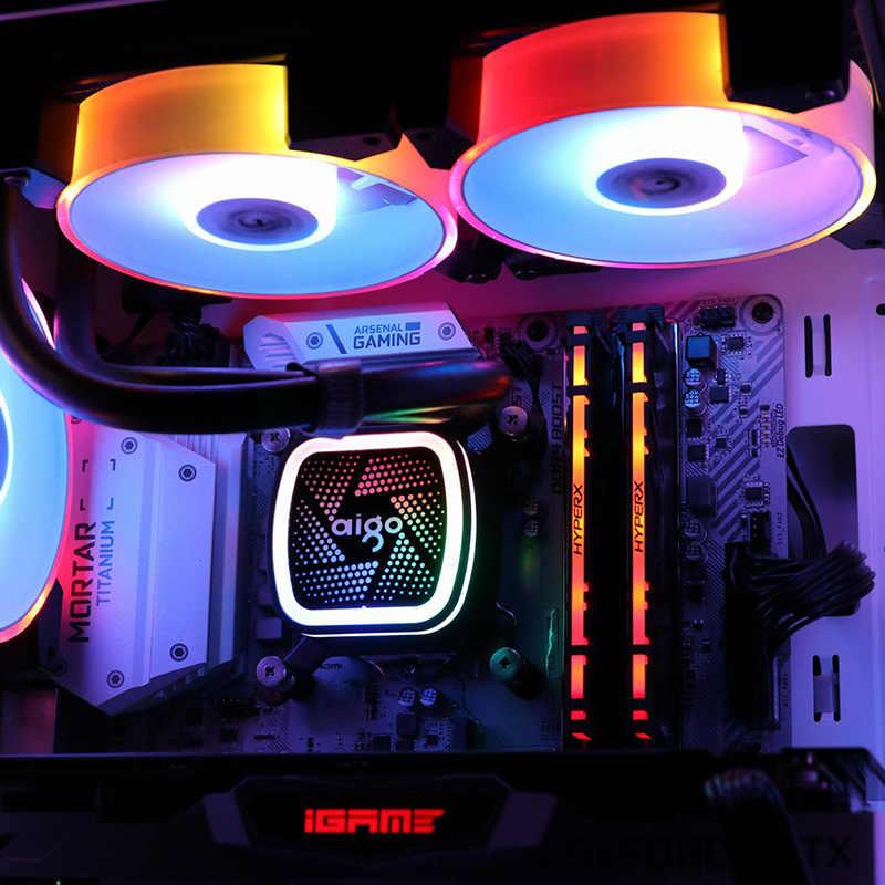 Aigo Nuovo RGB Ventola da 120mm LED PC Case Del Computer Ventole RGB Tranquillo Telecomando 5v 3pin Aura di Sincronizzazione Del Computer dispositivo di Raffreddamento della CPU di Raffreddamento Regolare Caso Fan