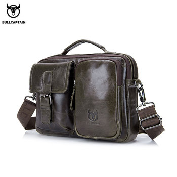 BULLCAPTAIN New Genuine Leather Men Crossbody Bag Male Briefcase Messenger bag casual Business briefcase Style men Shoulder