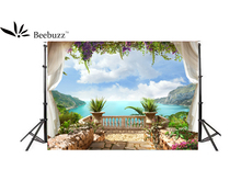Beebuzz Photo Background Green Hills, Water, Blue Sky And White Clouds backdrop