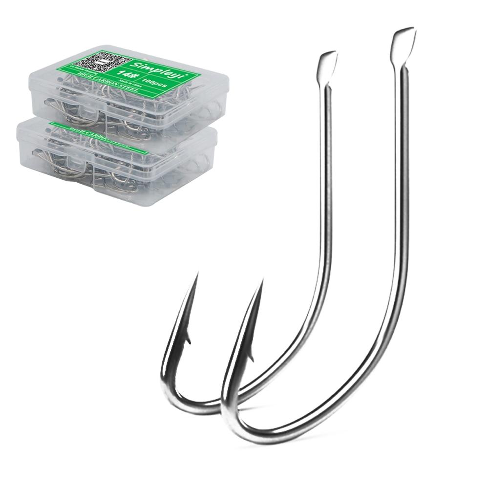 100pcs 1#-14# Series High Carbon Steel Fly Fishhooks Hook Soft Lure Fishing Bait Fish Hooks High Efficiency Jig Fishing Hooks