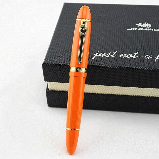 Шариковая ручка Jinhao, оранжевая, серебристая, с большой тяжелой ручкой