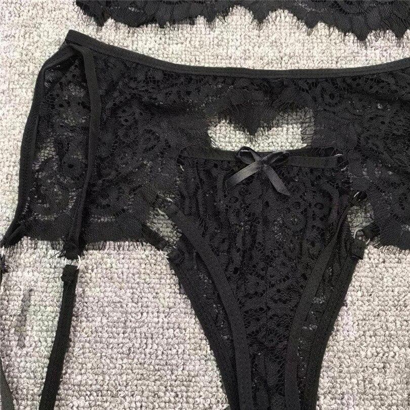 3PC Sexy Panty Garter Bra Set Erotic Lingerie For Women Sexy Underwear Plus Size Babydoll Soutien Gorge Sexy Erotique 30NOV2038