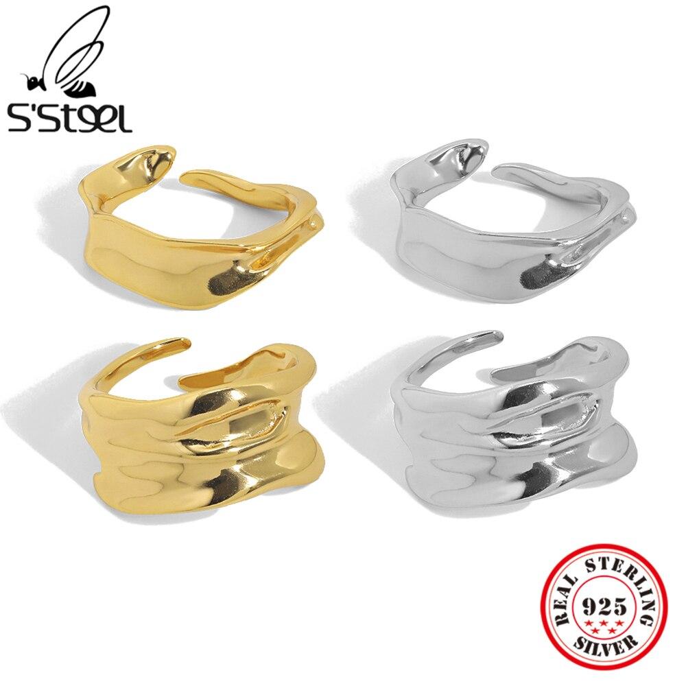 S'STEEL 925 пробы серебряные ботильоны в Корейском стиле на скрытой чувство складывающаяся разъединяющееся кольцо подарки для Для женщин Мода в...