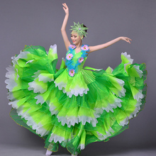 Танцевальный костюм для фламенко Расширительная юбка костюм современный сценический танцевальный для выступлений одежда длинная юбка испанское фламенко платье DL4205