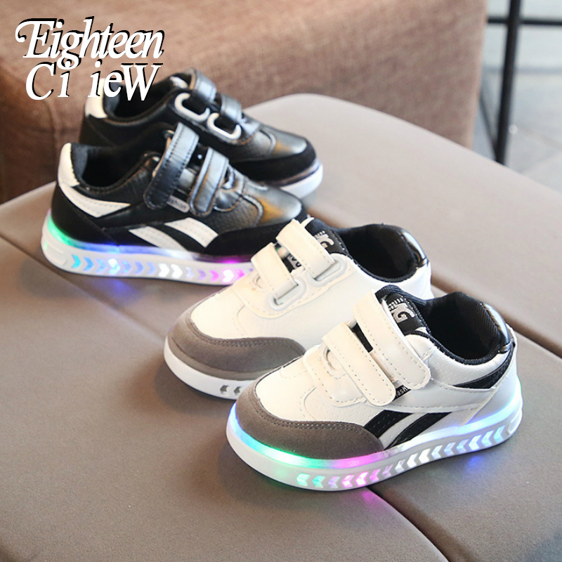 Luminous Sneakers Kids Shoes Boys Growing Sneakers PU Waterproof Sport Boys Shoes Tenis Infantil Breathable Child Light Up Shoes