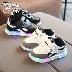 Świecące trampki dziecięce buty chłopcy rosnące trampki PU wodoodporne sportowe buty dla chłopców Tenis Infantil oddychające dziecko zapalają buty w Trampki od Matka i dzieci na