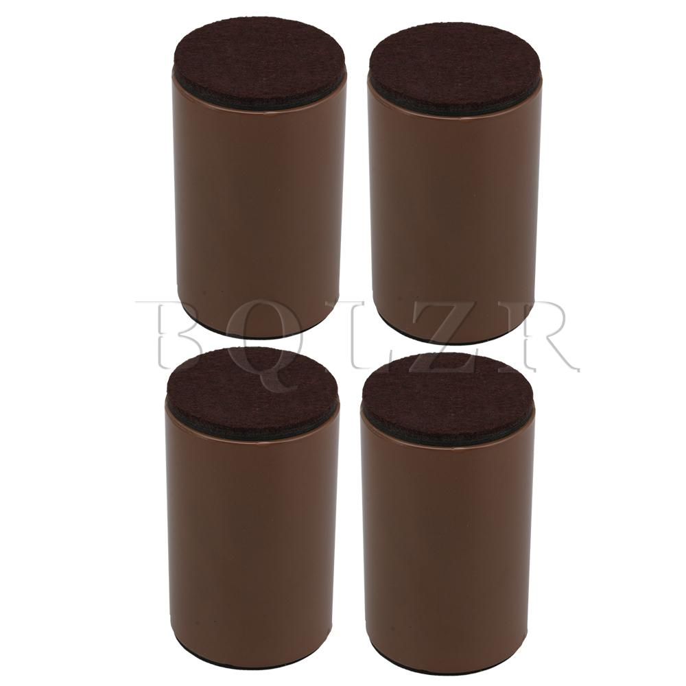 BQLZR 4pcs 6x10cm Carbon Steel Felt Brown Round Furniture Legs Feet Bed Lifter