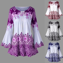 купить Women Long Flare Sleeve Blouses Floral Print Vintage Tunic Lace Up Blouse Women Ethnic Casual Shirts Top Blusas Feminina дешево
