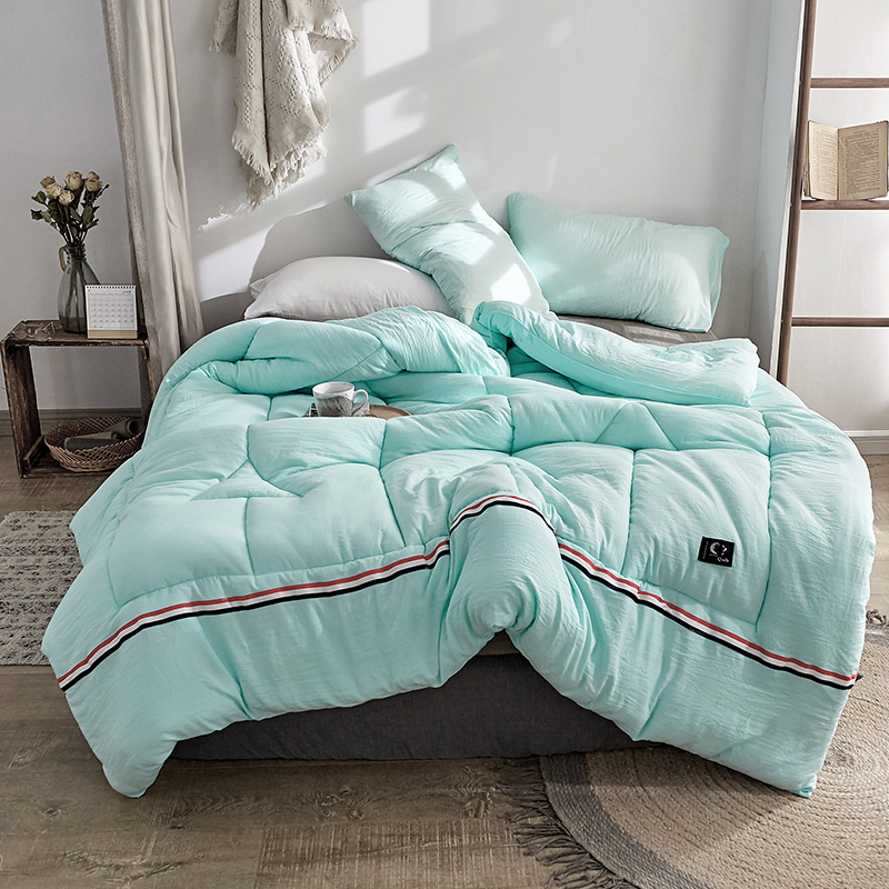 Cf2 Special Treatment Plaid Striped Comforter Winter Cotton Fabric Polyester Filling Full Queen King Size For Double Bed