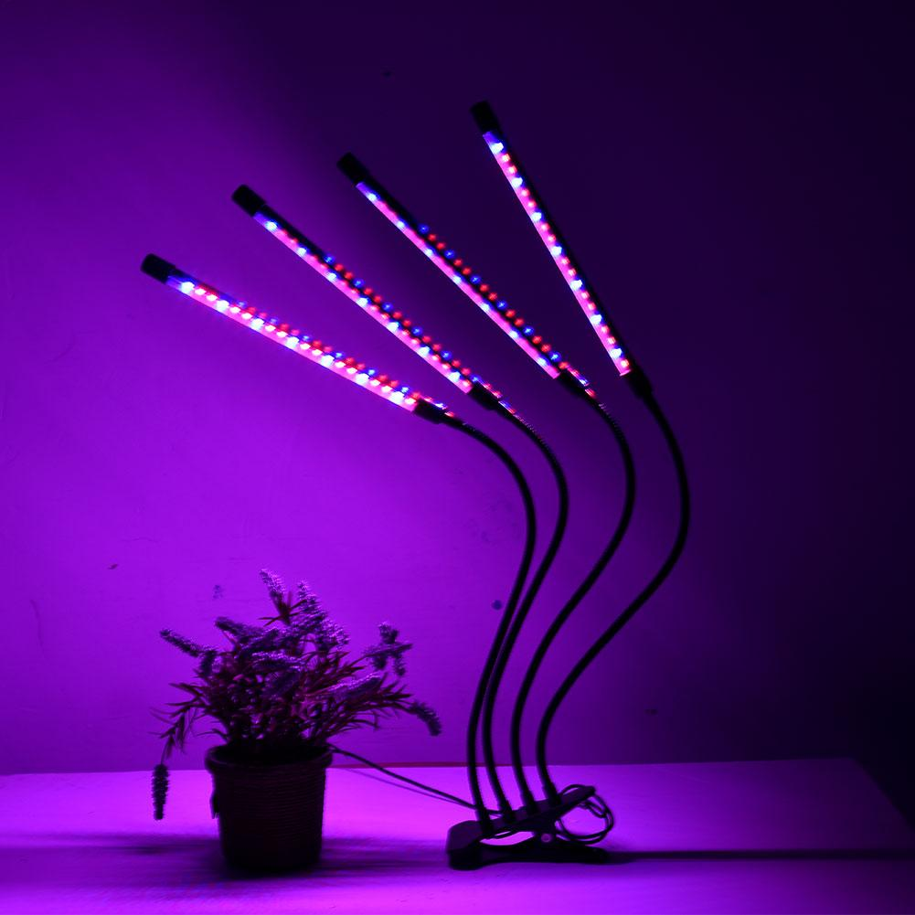 LED Plant Growth Light With Four Heads Clip USB Dimming Timing Desktop Plant Growth Lamp For Table Clip Lamp
