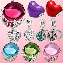 Новый 925 стерлингового серебра сверкающий камень на День святого Валентина, Очаровательные бусы, подходят к оригиналу Pandora, браслет для женщ...