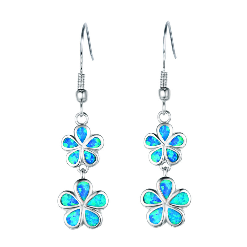 FDLK New Fashion Flower Long Dangle Earrings Blue Fake Fire Opal Drop Earrings for Women's Party Jewelry Accessories