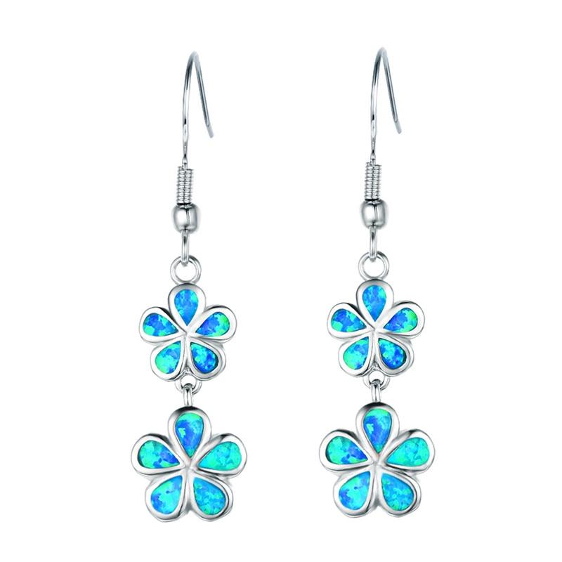 FDLK новые модные длинные висячие серьги в виде цветка с синим фальшивым огнем, аксессуары для женской вечеринки