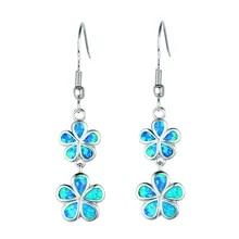 Ocean Blue Fire Opal Long Marquise Shape Silver Jewellery Dangle Drop Earrings