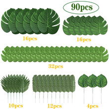 90pcs/set Artificial Tropical Palm Leaves for Hawaiian Luau Theme Party Decorations Home Garden Decoration