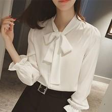 2019 Spring Autumn New Shirt Sweet Bow Tie Elegant Petal Sleeve Chiffon Blouse Office Ladies Formal Plus Size Women Blouse