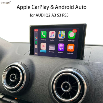 Wireless Apple Carplay Android Auto Interface Adapter For Audi A3 8V Backup Parking Front Rear Camera Display Improve Decoder image