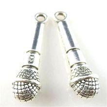 10 piezas de encantos ronda micrófono 27*7*6mm antiguo hacer colgante ajuste Vintage plata tibetana DIY hecho a mano collar de la pulsera