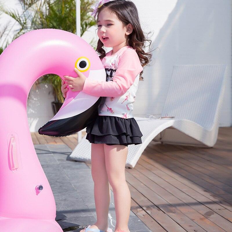 2018 Xiqi New Style Kid's Swimwear Barbie Girls' Two-piece Swimsuit Sun-resistant Long Sleeve Girl's Swimsuit