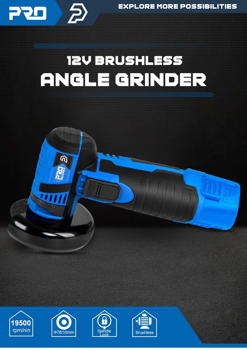 12V Mini Brushless Angle Grinder By PROSTORMER