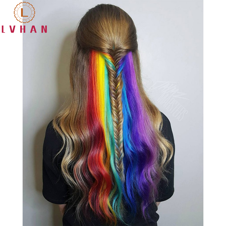 "LVHAN Colored Highlight Synthetic Hair Extensions Clip In One Piece Color Strips 24"" Long Straight Hairpiece For Sports Fans"