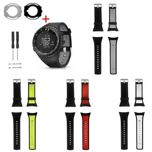 Image 5 - Two tone Soft Silicone Watchband Wrist Strap Anti Scratch Watch Case Screen Protector for Suunto Core Smart Watch Accessories