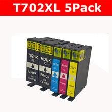 5 упаковок 702XL сменный картридж для принтера для Epson 702 702XL T702 T702XL для рабочей силы Pro WF-3720 WF-3720DWF WF-3730 WF-3733