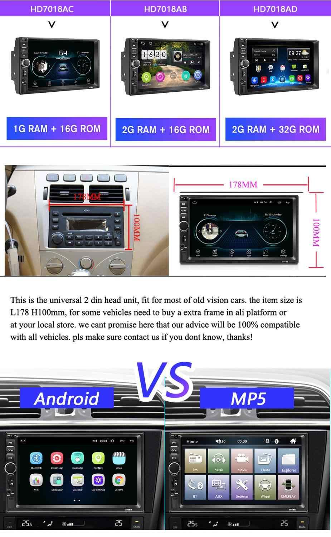 Podofo 2din カーラジオの Android Mirrorlink Bluetooth GPS Wifi Fm カーマルチメディア MP5 プレーヤーフォルクスワーゲン日産現代 autoradio