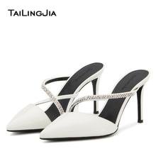 Closed Toe Rhinestone Sandals Womens 2020 Diamond Heels Pointed Toe Heeled Luxury Shoes Brown Women White High Heel Pumps Mules цена 2017
