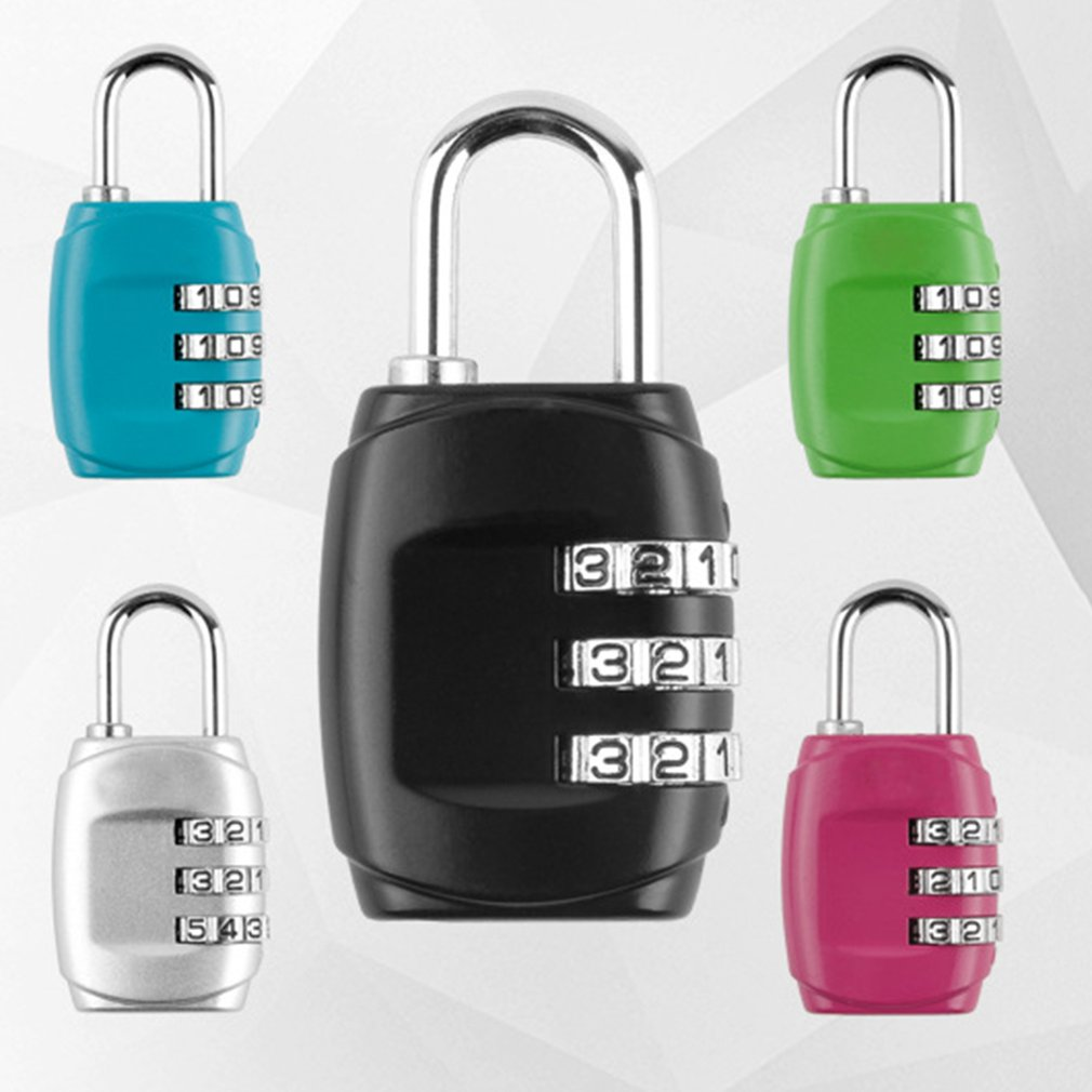 3 Dial Digit Password Combination Padlock Suitcase Luggage Metal Code Lock Mini Coded Keyed Anti-Theft Locks Weather Proof