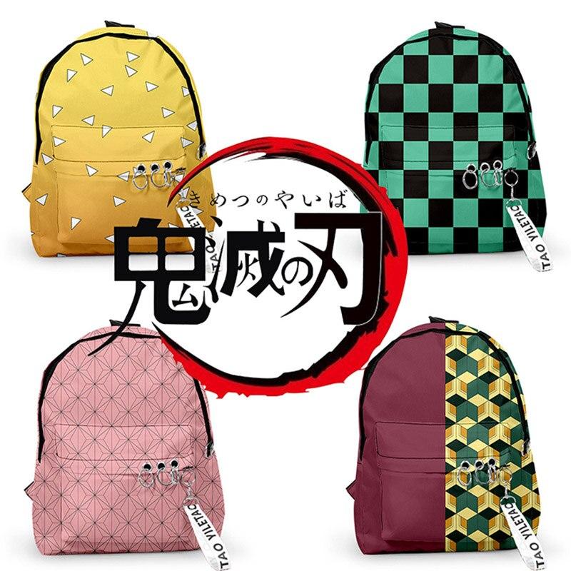 Demon Slayer: Kimetsu No Yaiba Anime Printed Backpack Oxford Cartoon Student Double Shoulder Book Bag Rucksack Travel Backpack