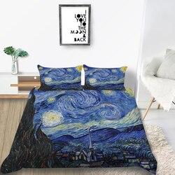 Thumbedding Van Gogh komplet pościeli artystyczny klasyczny nadruk na kołdrę król królowa podwójna pełna podwójna pojedyncza unikalna konstrukcja łóżko zestaw w Zestawy pościeli od Dom i ogród na