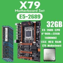 Kllisre placa base X79 con Xeon E5 2689, 4x8GB = 32GB, 1600MHz, DDR3, 8GB, ECC REG, Memoria ATX, USB 3,0, SATA3, PCI E, NVME, m,2, SSD