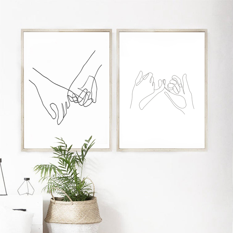 Pinky Swear Continuous One Lines Drawing Wall Art Canvas Poster Prints Minimalist Couple Painting