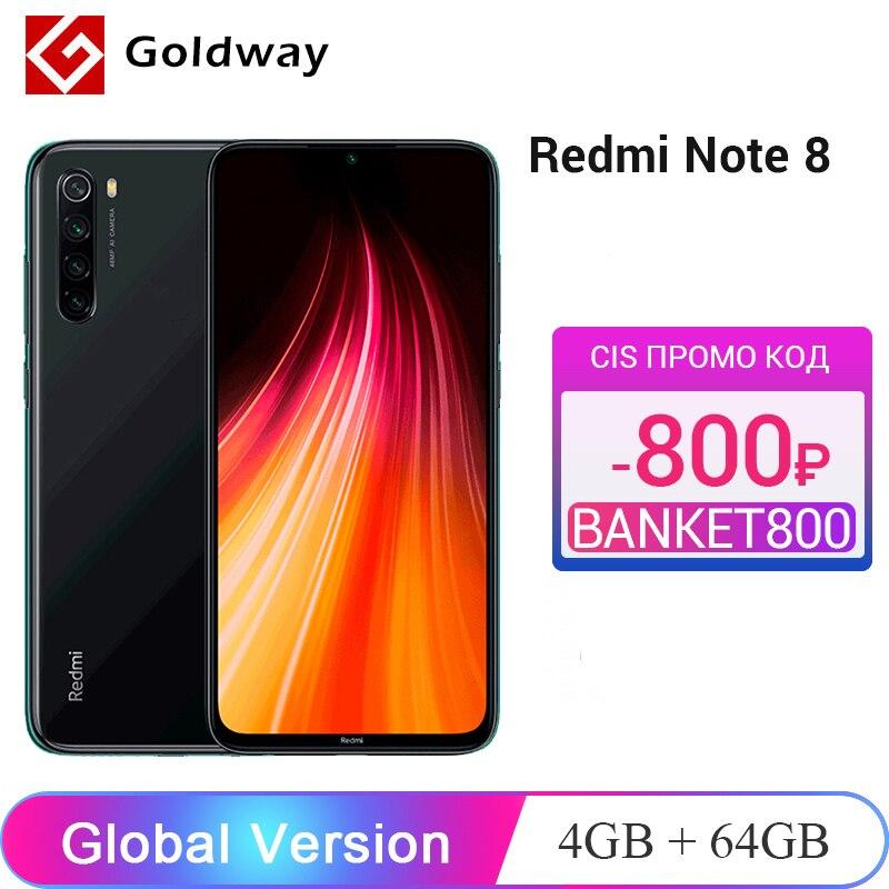 Глобальная версия Xiaomi Redmi Note 8, 4 Гб RAM, 64 ГБ ROM, мобильный телефон Snapdragon 665 Octa Core 6,3
