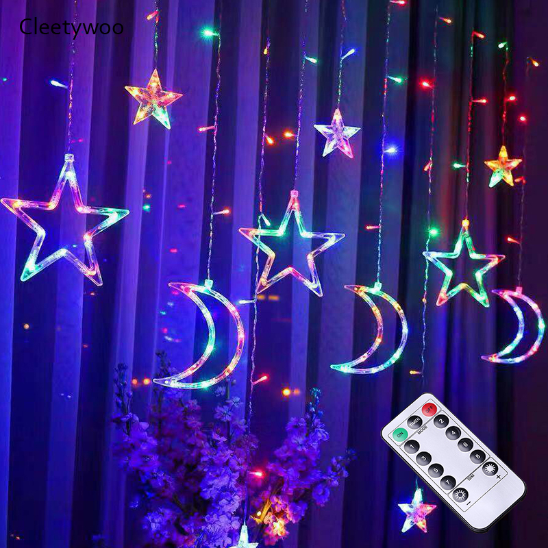 3.5M LED Fairy Curtain Light EU/US/UK Plug Moon Star Pentagram Garland Lamp String Lights For Christmas Party Wedding Decor
