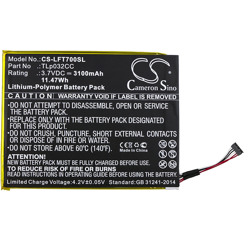 Аккумулятор Cameron Sino 3100 мАч для Alcatel 9005X One Touch Pixi 8 8,0 3G OT-9005X,TLp032CC