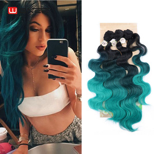 Image 5 - Wignee 3 Bundles With Closure Synthetic Hair Extensions For Women Natural Black Hair To Grey/Purple/Green/Blue Wavy Hair Piece