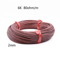 2 мм 6 к/80 Ом высокое качество теплый пол из углеродного волокна Силиконовый нагревательный кабель из углеродного волокна теплая горячая лин...