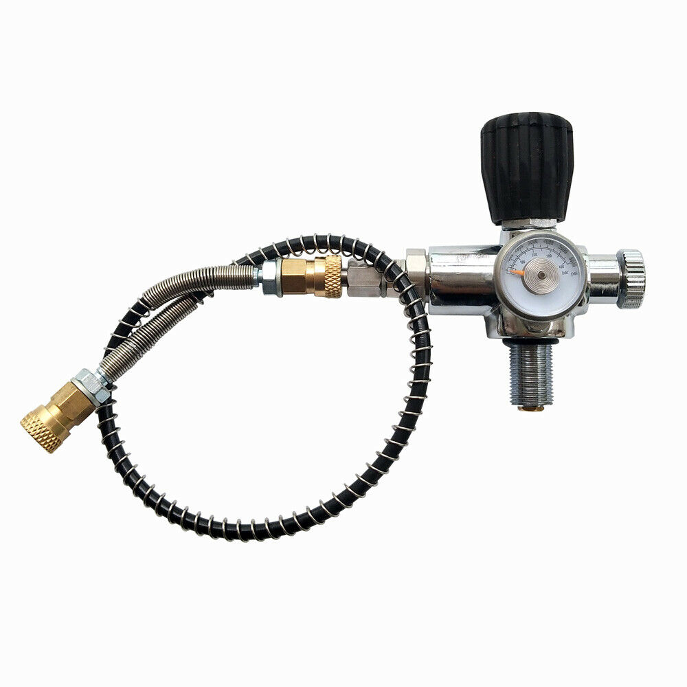 Jubilee PCP Scuba Charging Valve Air Filling Station Refill Adapter With 400bar 6000psi  Gauge 50cm High Pressure Hose M18x1.5