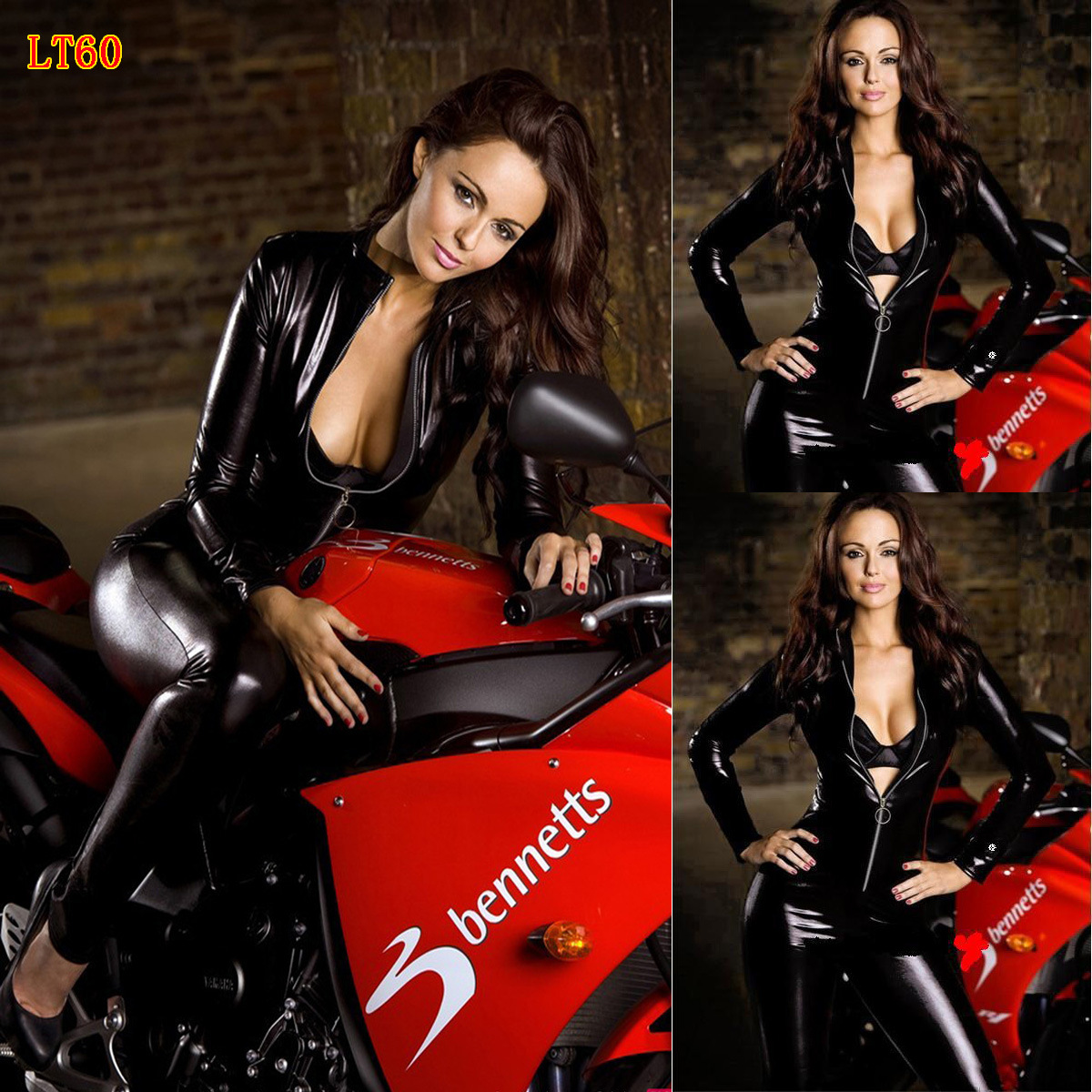 New Sexy Women Black Patent Leather Jumpsuit Bondage Catsuit Zip Leotard Skinny Bodysuit Rompers Overalls Motorcycle Clothing