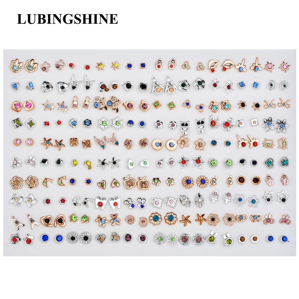 LUBINGSHINE 100 Pairs/Lot Fashion Soft Clay Fruit Mixed Stud Earrings Set Alloy Heart Jewelry For Women Girl Birthday Gift