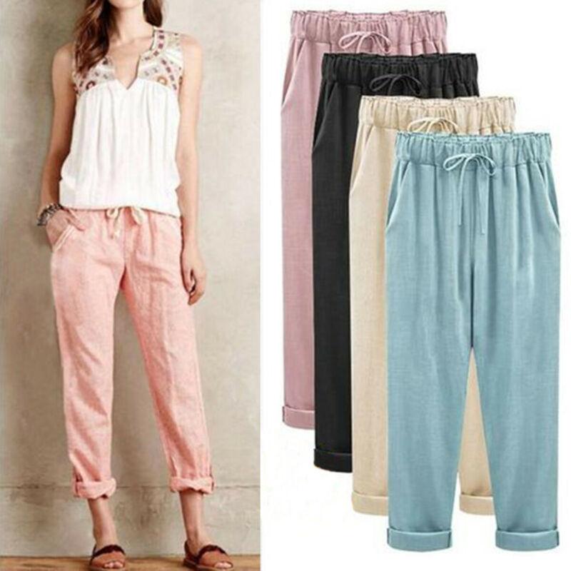 Women's Elastic High Waist Cotton Linen Baggy Harem Pants Trousers Casual Pants Plus Size M-6XL