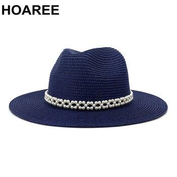 цена на HOAREE Navy Panama Hat Stylish Pearl Summer Beach Ladies Trilby Wide Brim Hat Straw Sun Hats for Women Jazz Fedora Hat