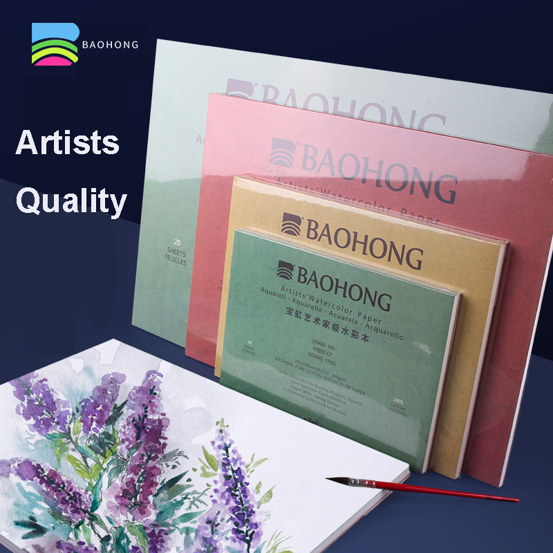 BAOHONG Artists Watercolor Paper Textured Pad for Paint, Pencil, Ink, Charcoal, Pastel, and Acrylic 20 Sheets 300gsm White